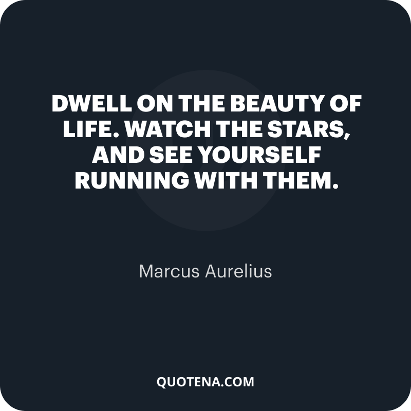"""""""Dwell on the beauty of life. Watch the stars, and see yourself running with them."""" – Marcus Aurelius"""
