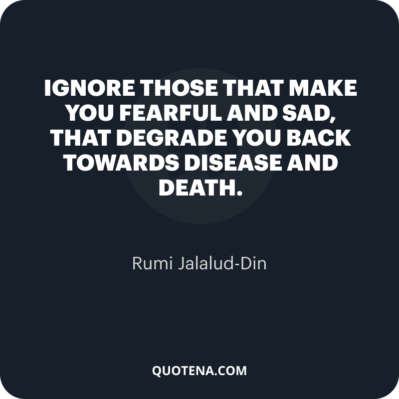 """""""Ignore those that make you fearful and sad, that degrade you back towards disease and death."""" – Rumi Jalalud-Din"""