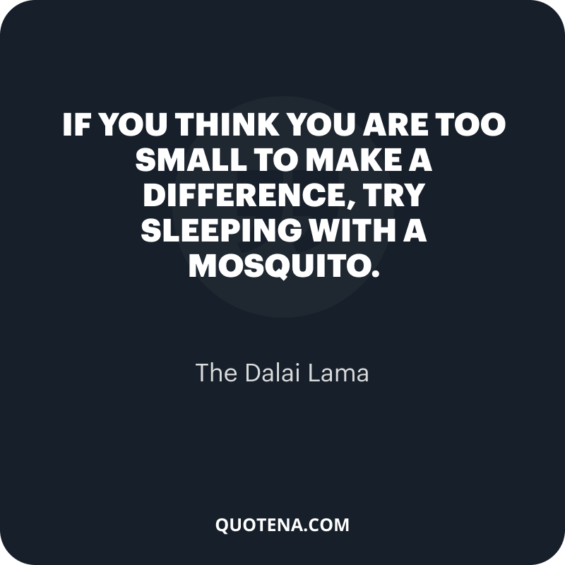 """""""If you think you are too small to make a difference, try sleeping with a mosquito."""" – The Dalai Lama"""