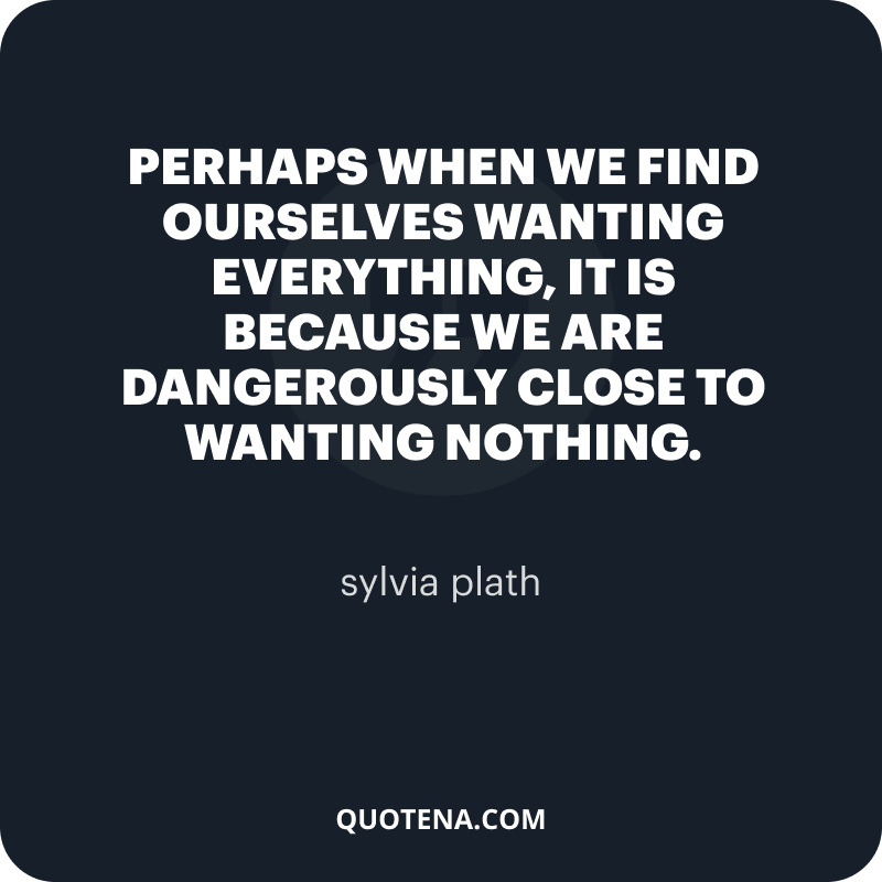 """""""Perhaps when we find ourselves wanting everything, it is because we are dangerously close to wanting nothing."""" – sylvia plath"""