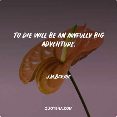 """""""To die will be an awfully big adventure."""" – J.M.Barrie"""