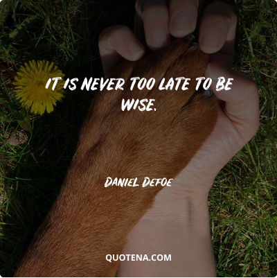 """""""It is never too late to be wise."""" – Daniel Defoe"""