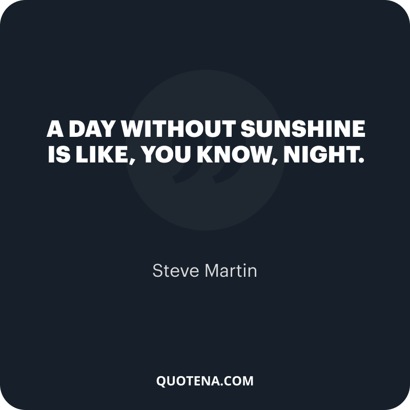 """""""A day without sunshine is like, you know, night."""" – Steve Martin"""