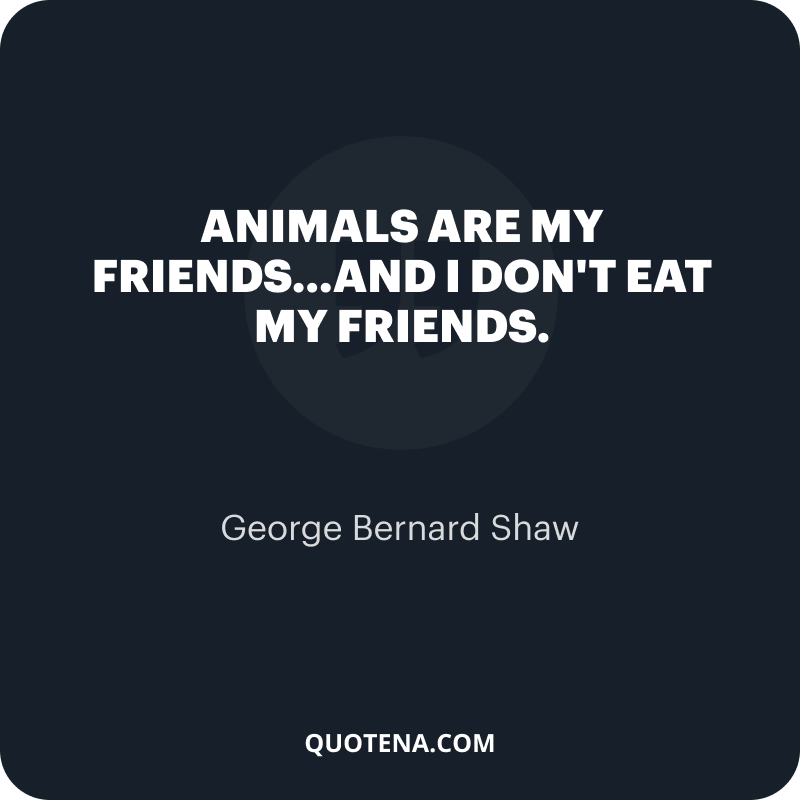 """""""Animals are my friends…and I don't eat my friends."""" – George Bernard Shaw"""