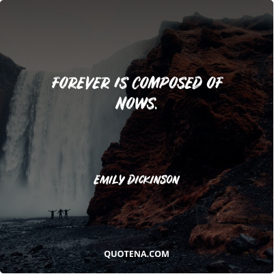 """""""Forever is composed of nows."""" – Emily Dickinson"""