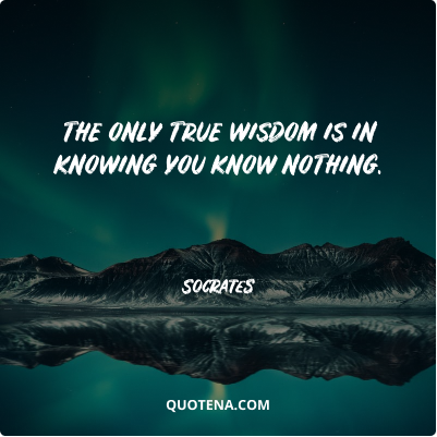 """""""The only true wisdom is in knowing you know nothing."""" – Socrates"""