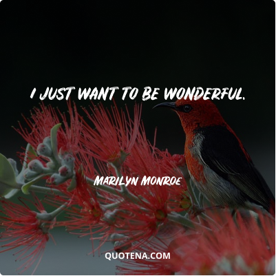 """""""I just want to be wonderful."""" – Marilyn Monroe"""