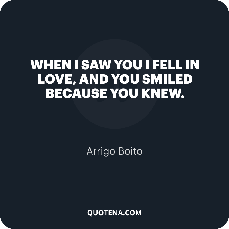 """""""When I saw you I fell in love, and you smiled because you knew."""" – Arrigo Boito"""